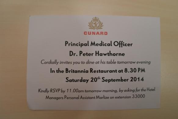 Middagsinvitasjon fra Dr. Peter Hawthorne.