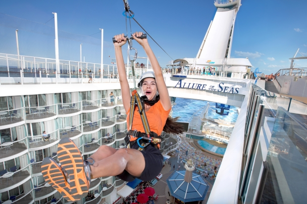 Zip line Allure of the Seas, Royal Caribbean.