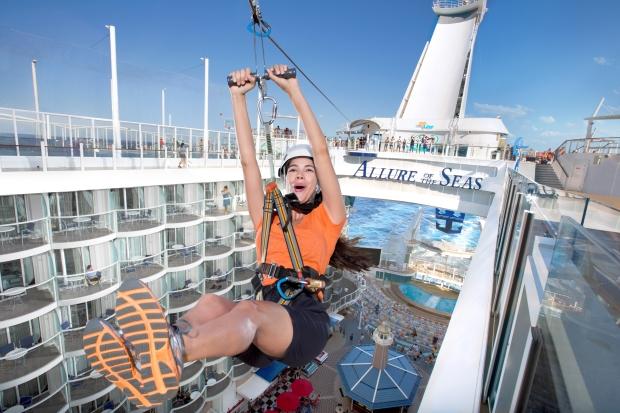 Zip line Allure of the Seas, Royal Caribbean.