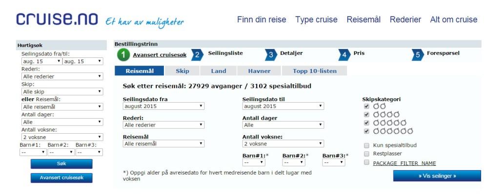 Cruiseportal søk cruise Cruise.no