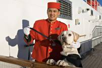 Dog and staff QM2