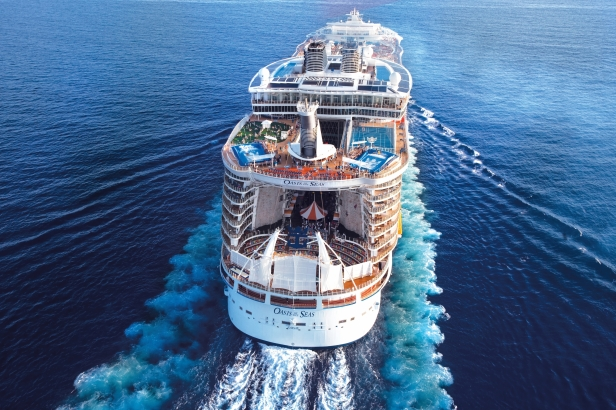 Aerial Oasis of the Seas - At Sea off Miami shoreline Oasis of the Seas - Royal Caribbean International